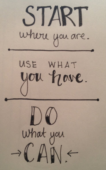 Start where you are, do what you can