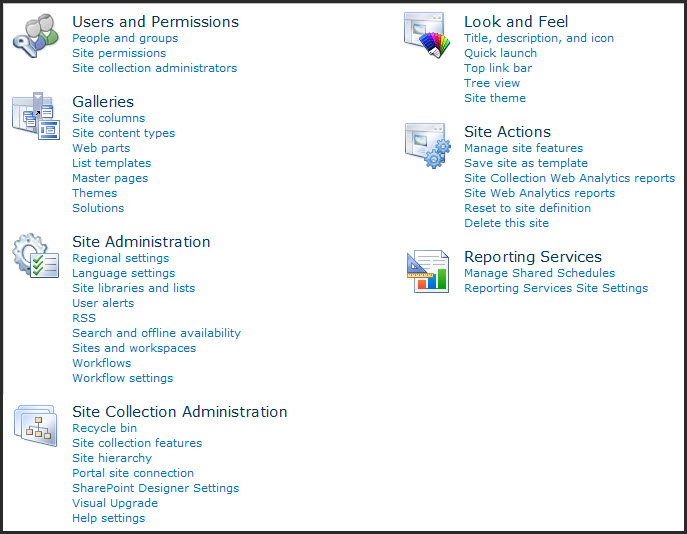 SharePoint 2007 vs 2010 for End Users : Site Settings – Views from