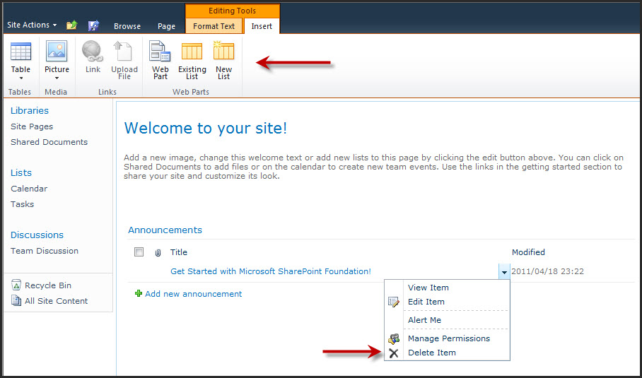 Announcements Gotchas On Sharepoint 2010 Site Pages