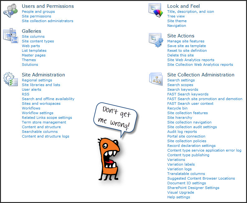 tasks for sharepoint team site collection administrators
