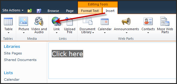 Insert Link Not Working in SharePoint 2010? – Views from