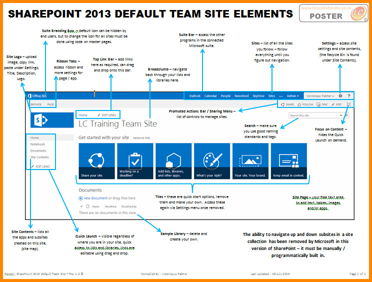 SharePoint 2013 Default Team Site Elements | Views from Veronique