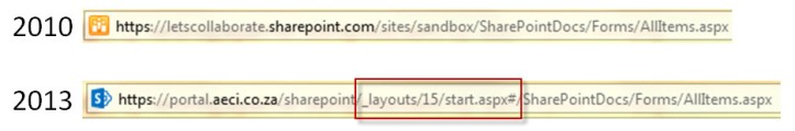SharePoint 2010 vs 2013 links