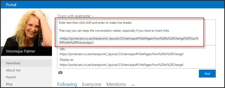 SharePoint 2013 Newsfeed Tip