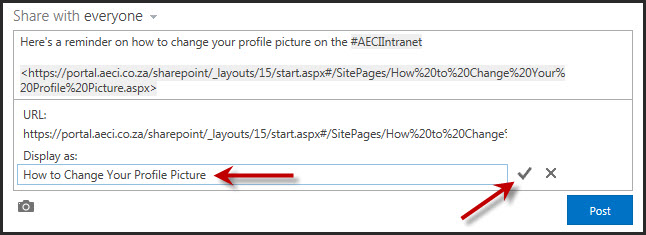 SharePoint 2013 Newsfeed URL options 2