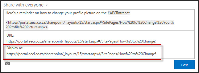 SharePoint 2013 Newsfeed URL options