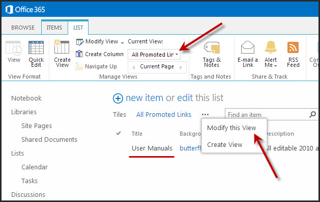 Tip for Editing Promoted Links in SharePoint 2013 – Views
