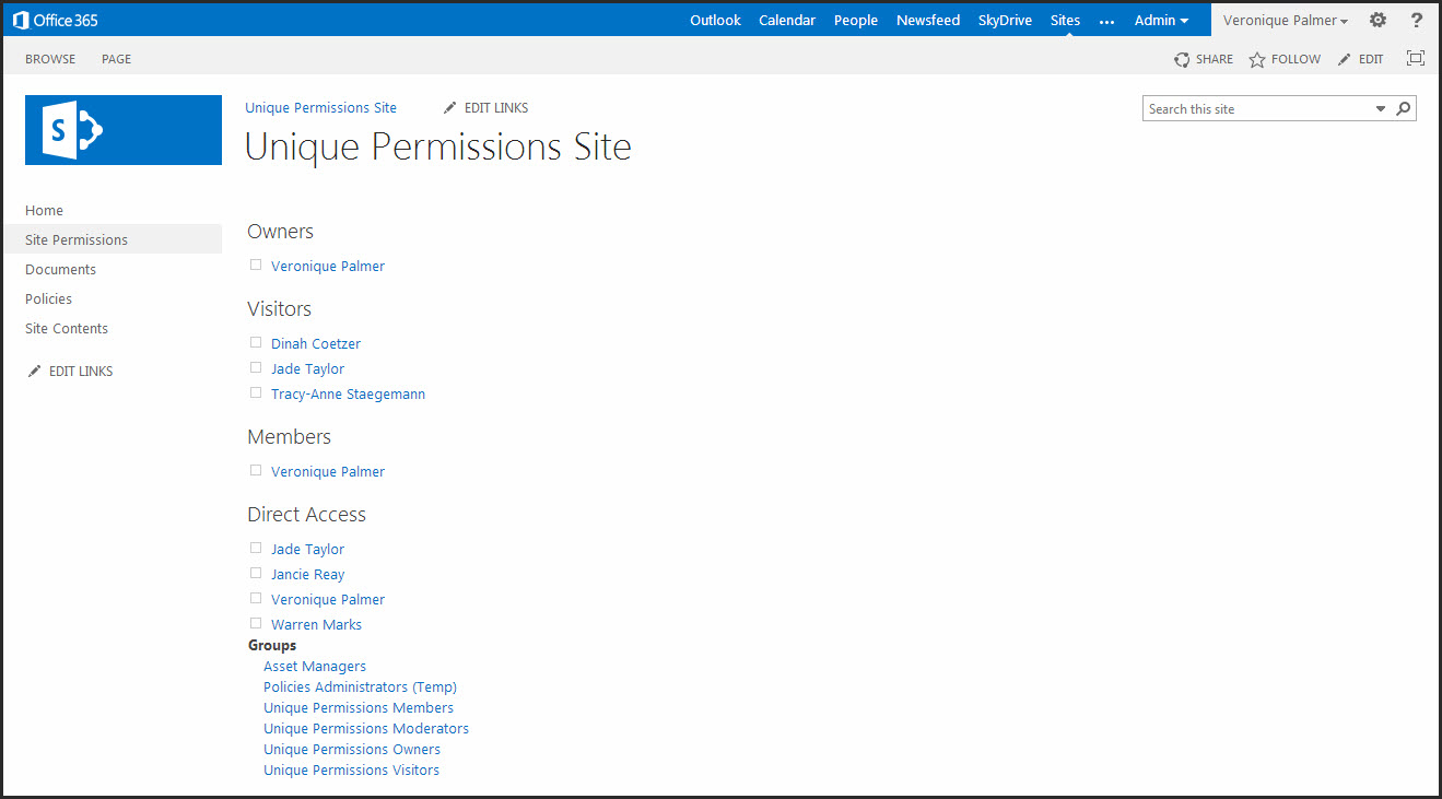 how to create site permission in sharepoint
