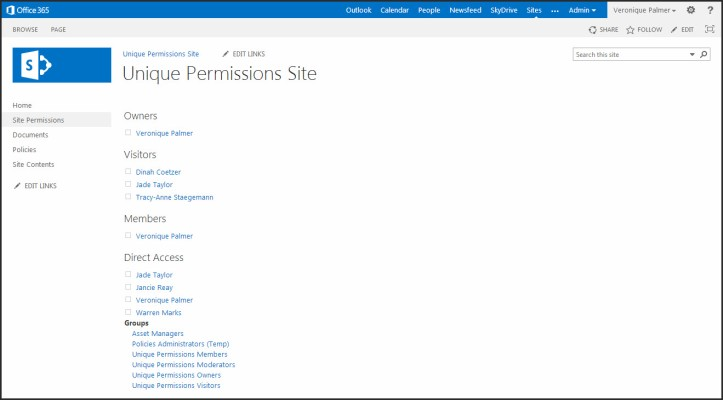 SharePoint 2013 Site Permissions