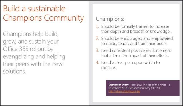 Building Sustainable Office 365 Champion Communities