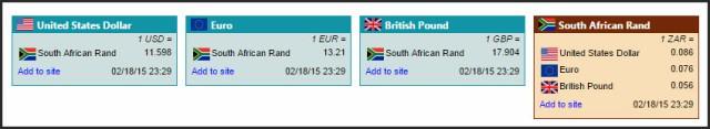 Exchange rate RSS feed widget