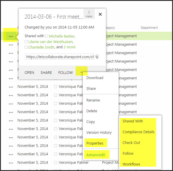 Navigation on Docs in Office 365 b