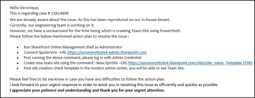 Heads Up on Error on Modern SharePoint Online Team Site