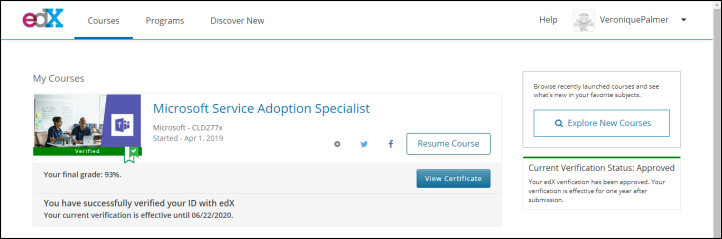 Microsoft Service Adoption Specialist Exam Dashboard