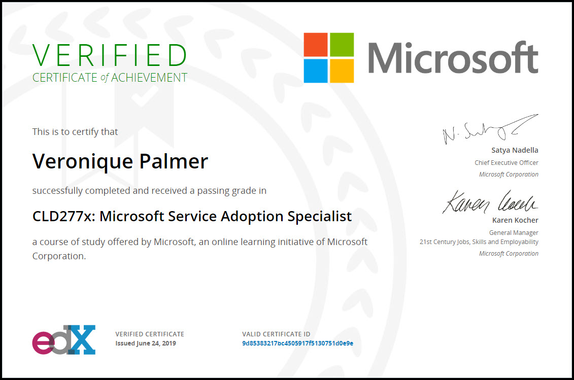 Microsoft Service Adoption Specialist Exam Certificate - Veronique Palmer